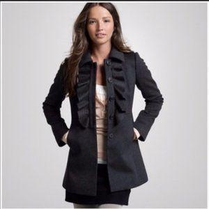 J. Crew Warm Ruffle Front Black Wool Coat sz. 0